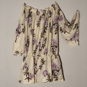 Tops - Cream color blouse with lilac flowers! BARELY WORN